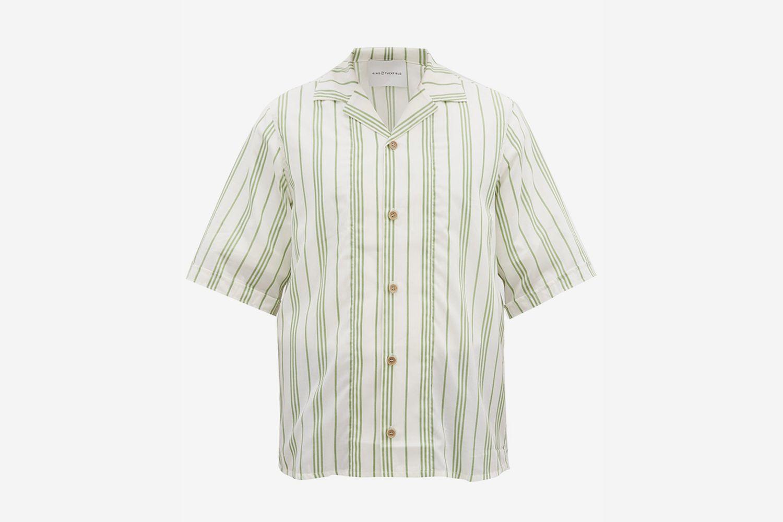 Cuban-Collar Striped Shirt