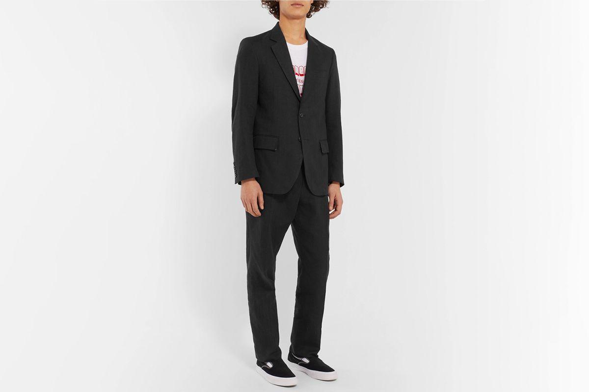 Unstructured Herringbone Linen Suit Jacket