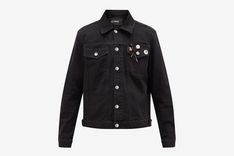 Badge-Embellished Cropped Denim Jacket