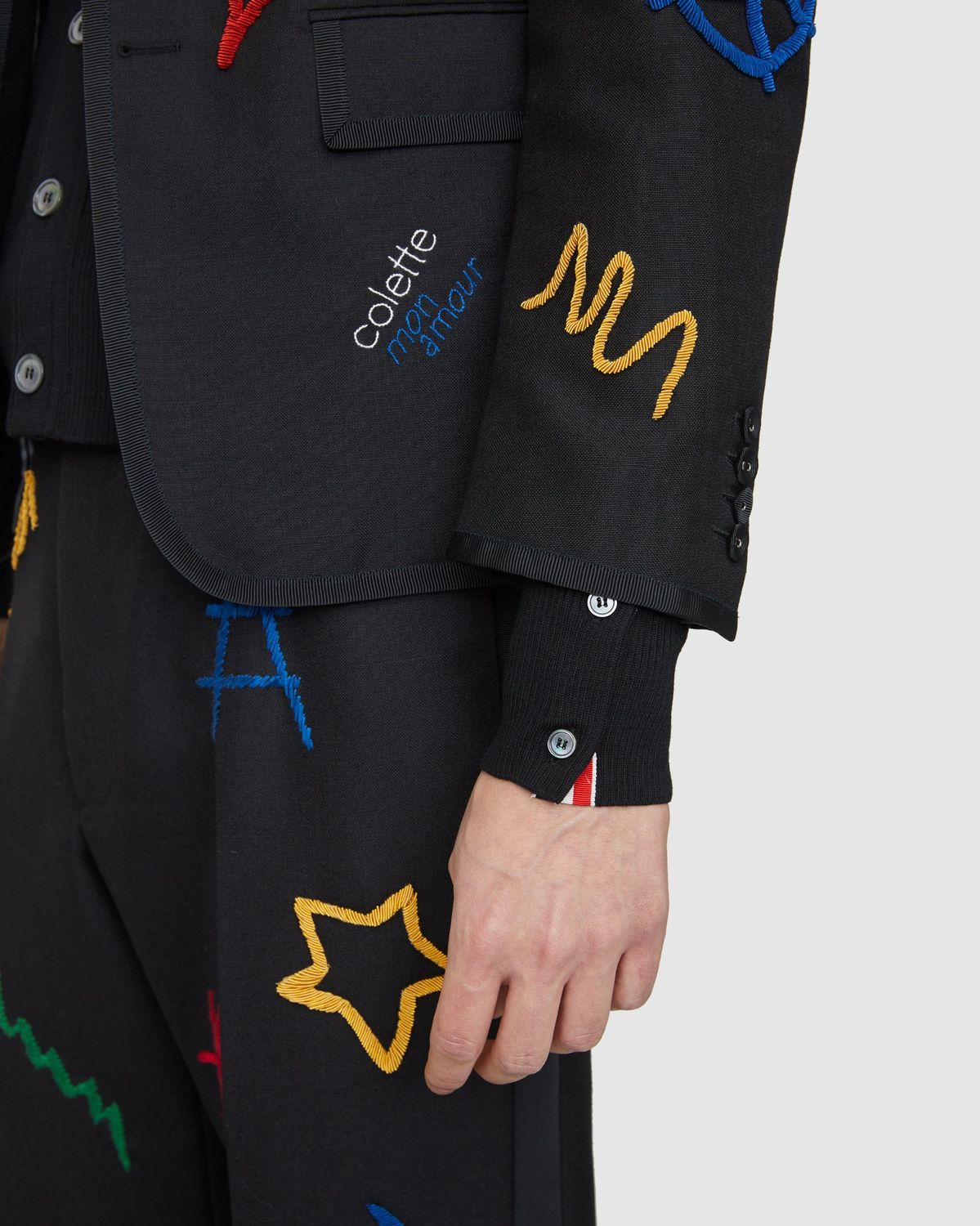 Colette Mon Amour x Thom Browne — Black Embroidered Tux Suit - Image 11