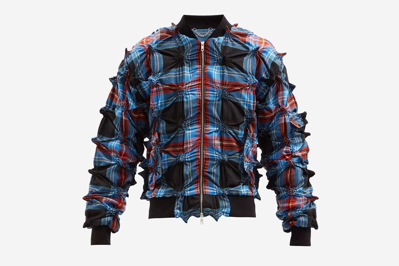 Spike-Gathered Tartan Wool Bomber Jacket