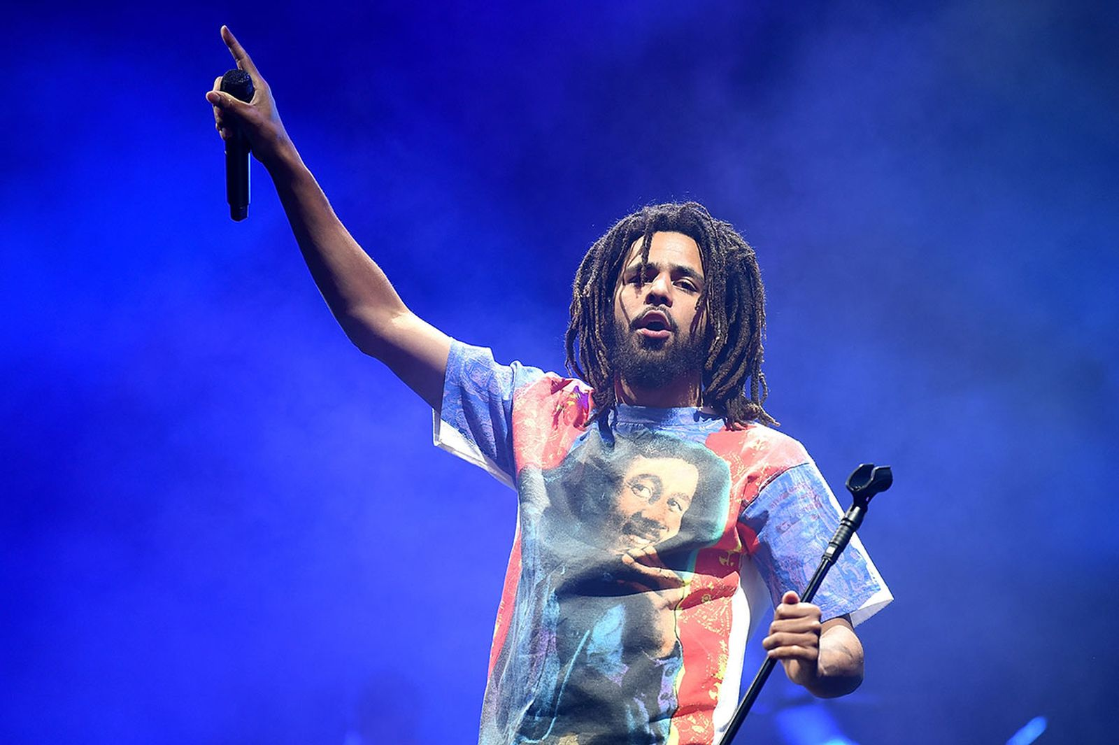 j. Cole performs wearing bob Marley t-shirt