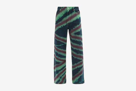Tie-Dye Striped Denim Jeans