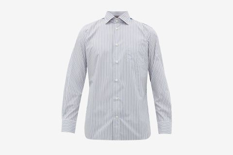 Technical Panel Striped Cotton Shirt