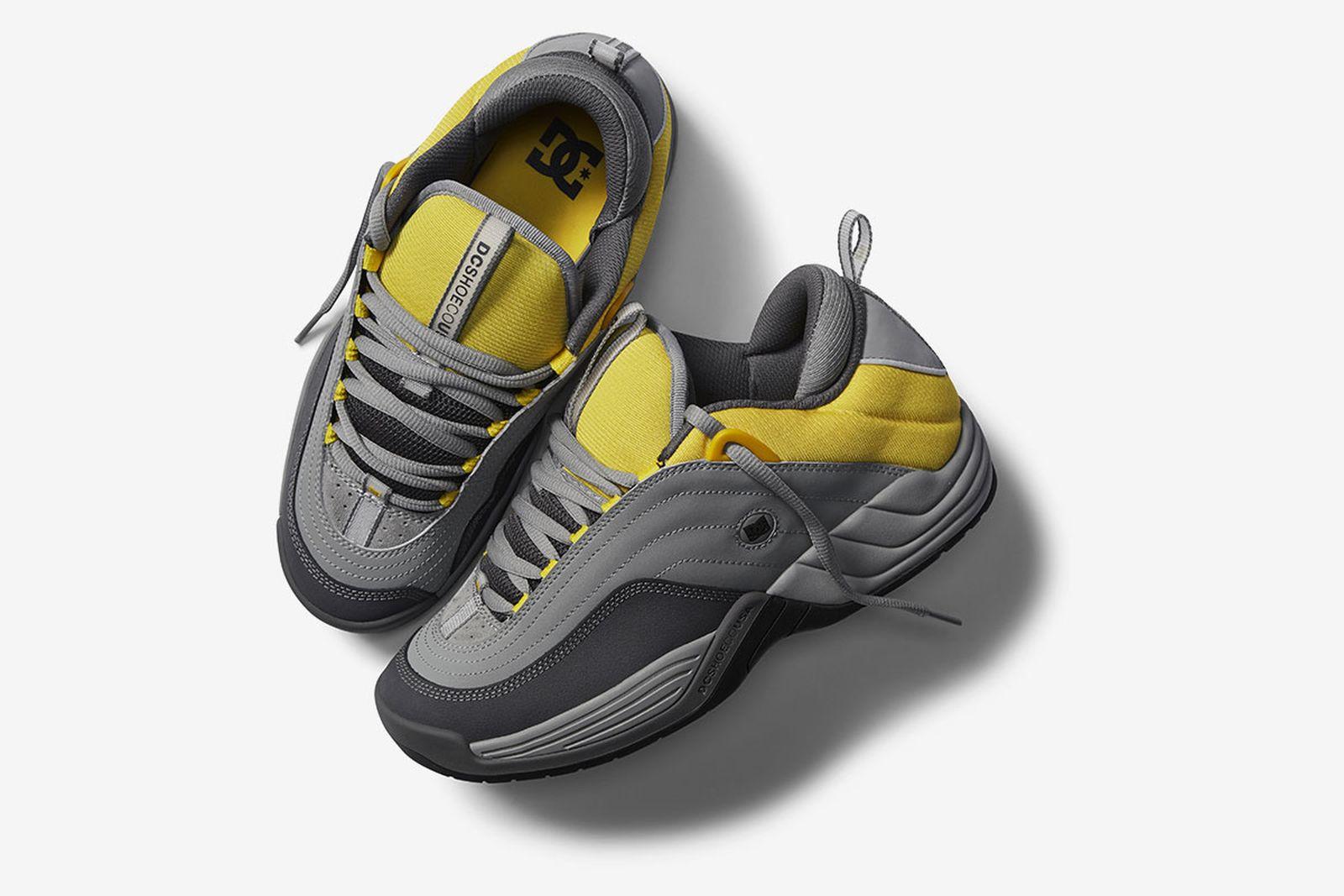 dc skate shoes grey yellow