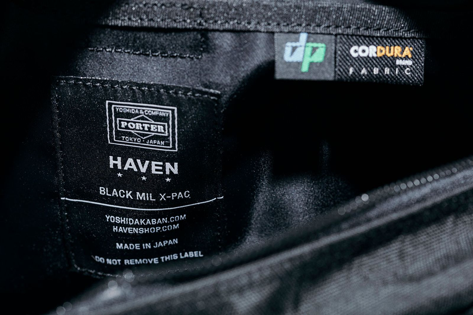 haven x porter bag label