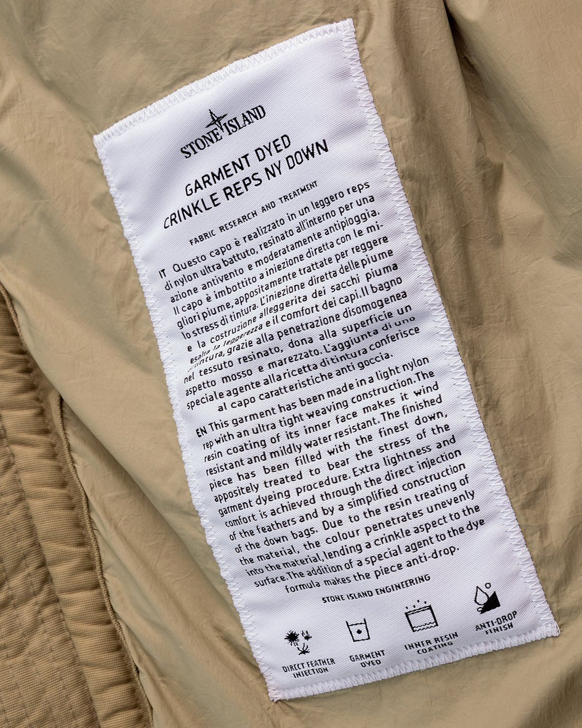Stone Island – Real Down Jacket Natural Beige - Image 7