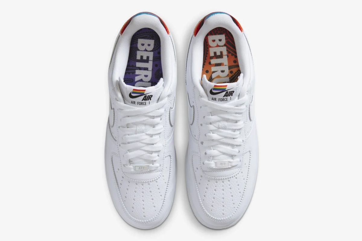 White and rainbow Pride Nike Air Force 1 top down view