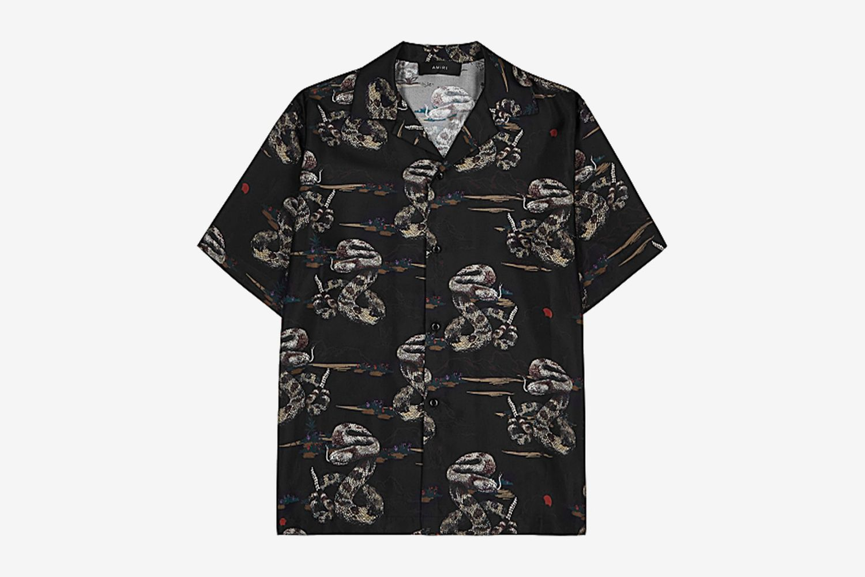 Rattlesnake Printed Silk-Twill Shirt