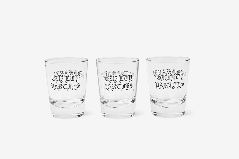 Set of Three Logo-Print Shot Glasses