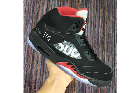 """40e5c2695684 Here s Your Very First Look at the Supreme x Air Jordan 5 """"Bred"""""""