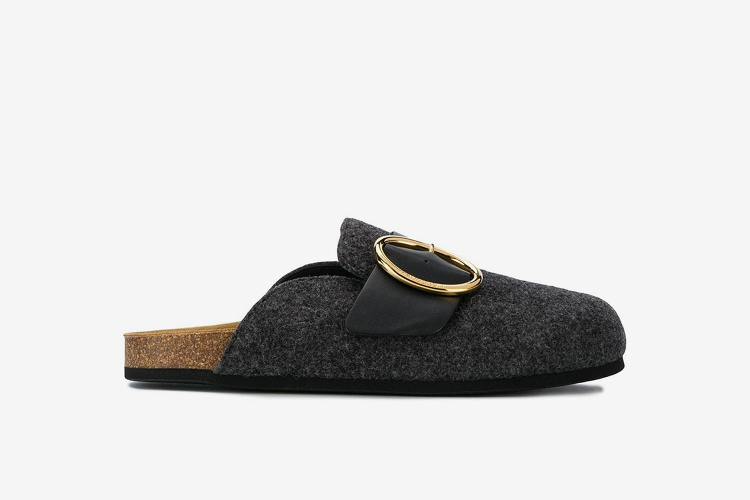Round Buckle Open-Back Slippers