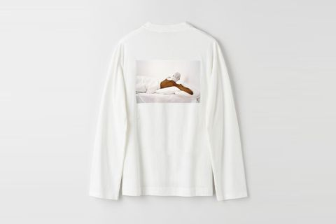 Long Sleeve White Bed Print