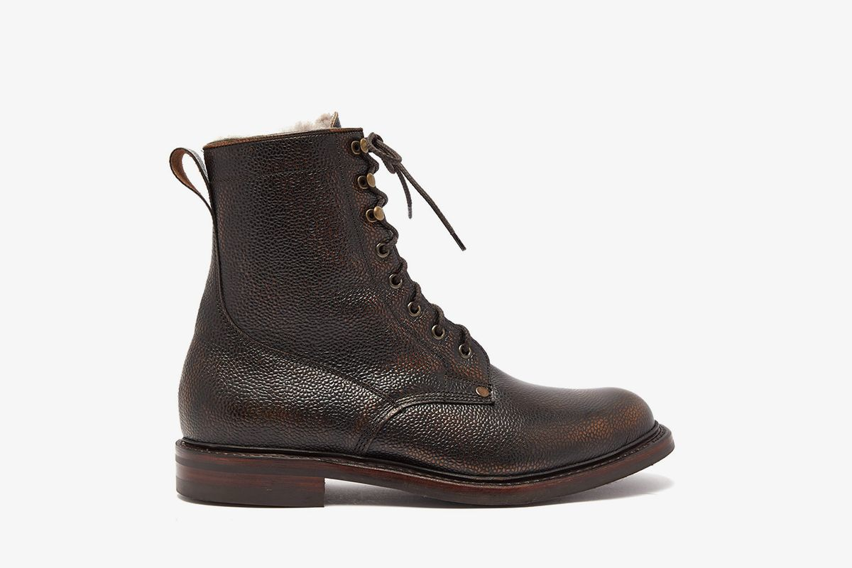 Shearling-Lined Grained-Leather Boots