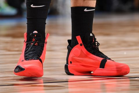 "Luka Donic wears Nike Air Jordan 34 ""Infrared 23"""