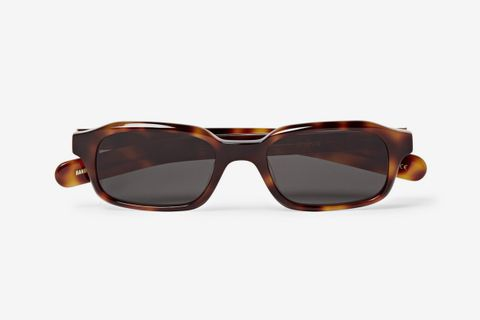 Hanky Rectangular-Frame Tortoiseshell Acetate Sunglasses