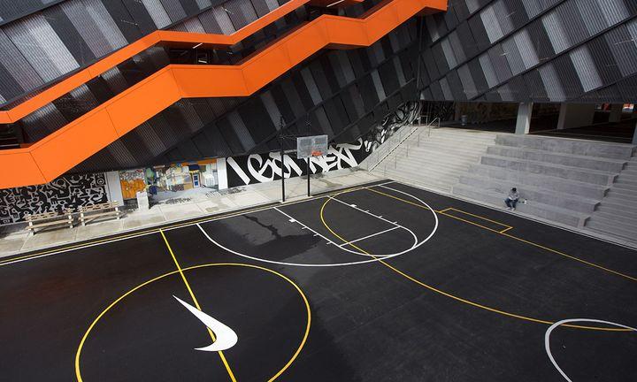 basketball court with nike logo