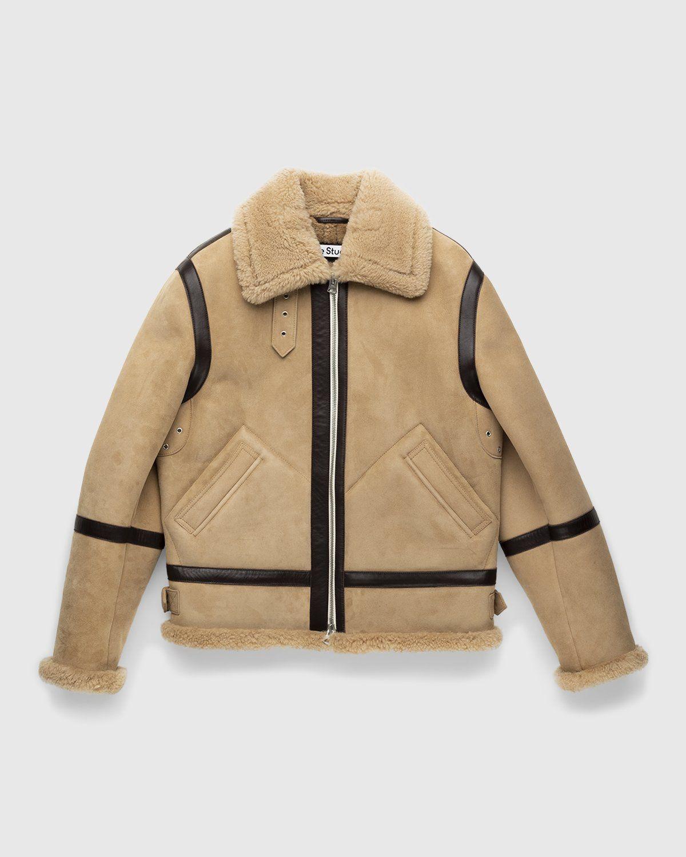 Acne Studios – Shearling Leather Jacket Almond Beige - Image 1