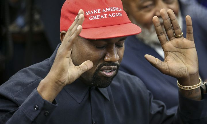 Kanye West speaks during a meeting with U.S. President Donald Trump in the Oval office
