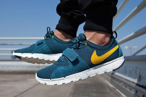 "5042bba379 Nike SB's crossover Trainerendor sneaker has just arrived in a new ""Night  Factor"" colorway. The low-top kicks have been comprised of a mixture of  suede, ..."