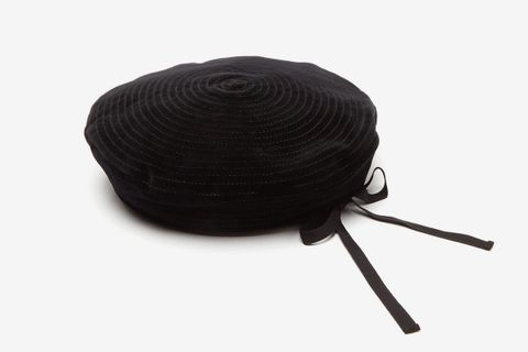 Leather-Trimmed Spiral-Stitch Suede Beret