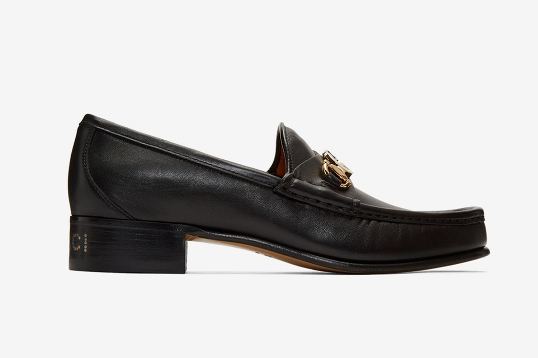Black Leather Interlocking G Horsebit Loafers