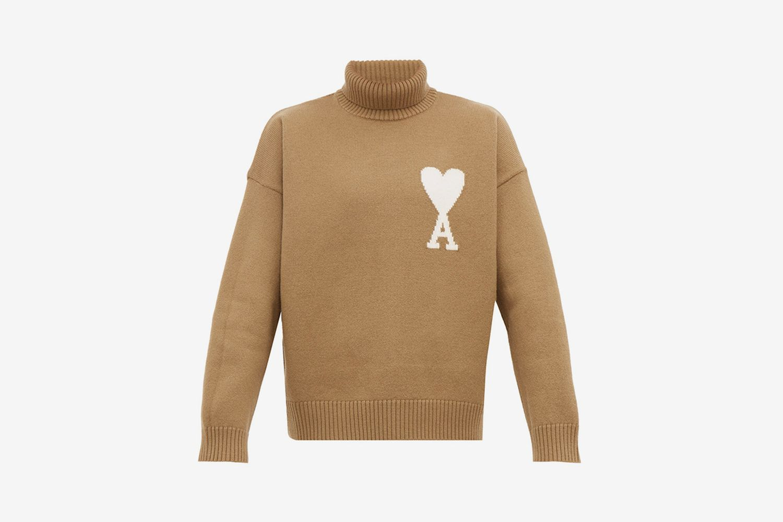 De Caur Intarsia Wool Roll Neck Sweater