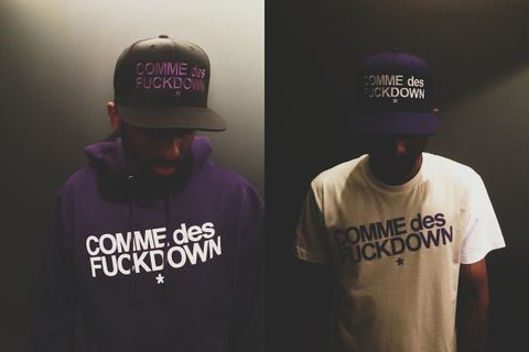 "78019d8dd7f Black Scale and The Cut come together on a purple version of the ubiquitous  ""COMME des FUCKDOWN"" graphic. The collaborative items are out today at  Black ..."