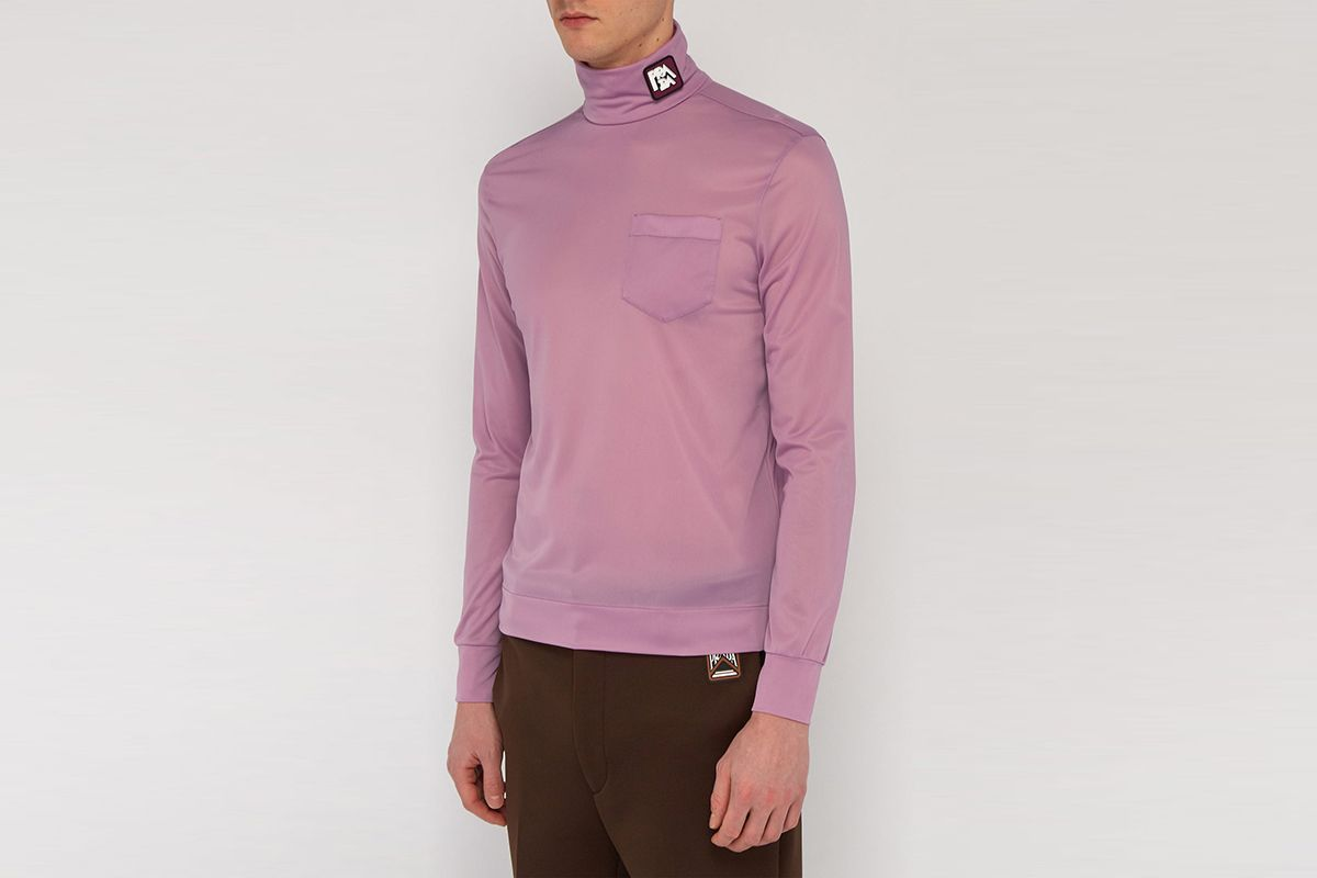 Logo Patch Roll Neck Top