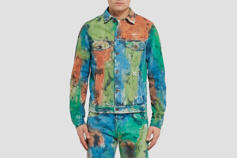 Painted Distressed Denim Trucker Jacket