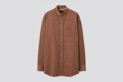 Corduroy Stand Collar Long-Sleeve Shirt