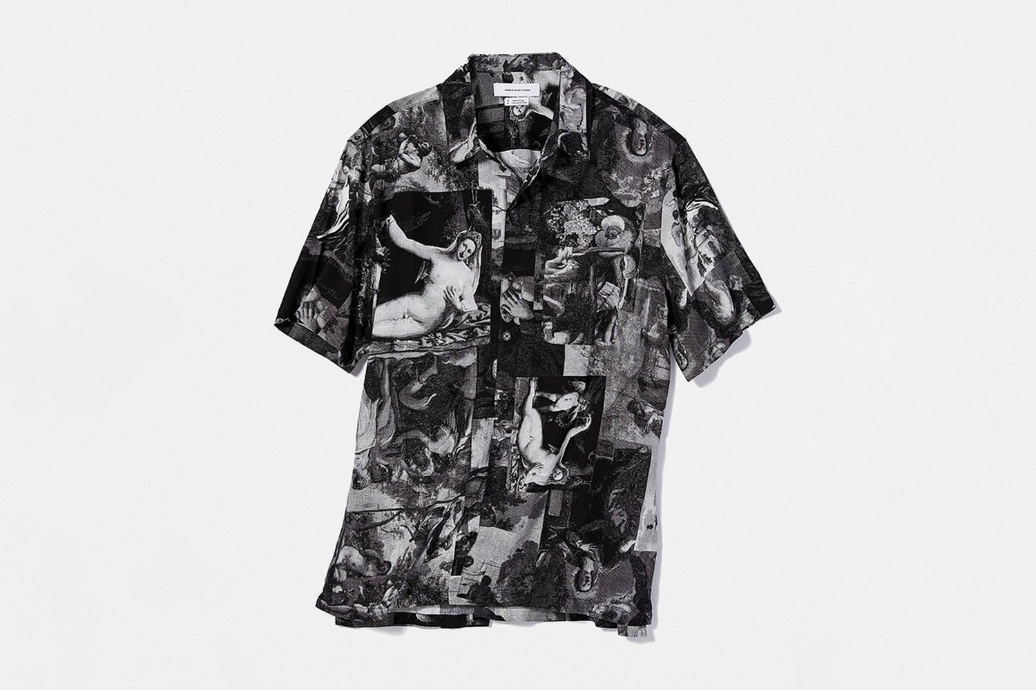 Art Motif Short Sleeve Button-Down Shirt