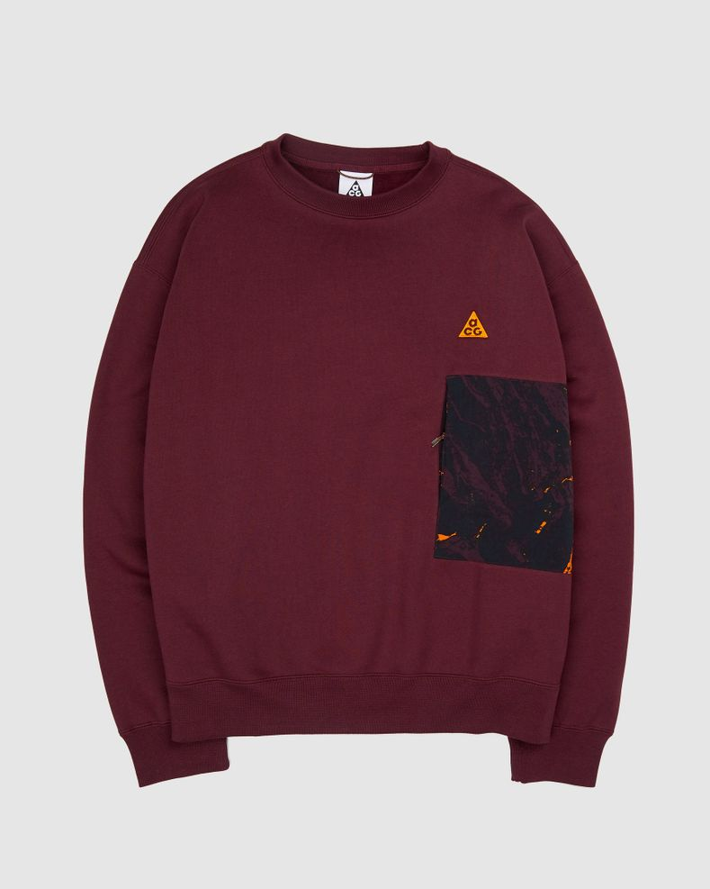 Nike ACG Allover Print Crew - Burgundy - Sweater