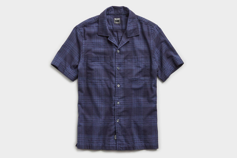 Two Pocket Boucle Plaid Short Sleeve Shirt