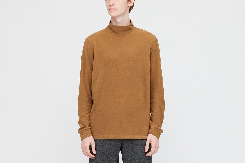 Heattech Fleece Mock-Neck Long-Sleeve T-Shirt