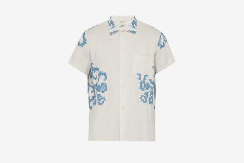 Floral Cross-stitched Linen Shirt