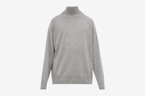 Loose-fit Funnel-Neck Cashmere Sweater
