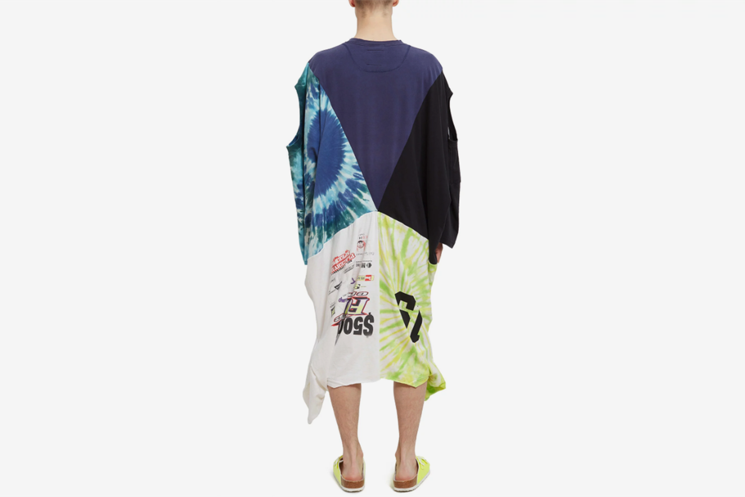 Oversized Patched Tie Dye Tee Dress