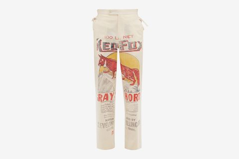Grain Sack Print Cotton Canvas Trousers