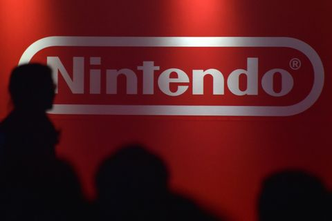 nintendo logo on a red background