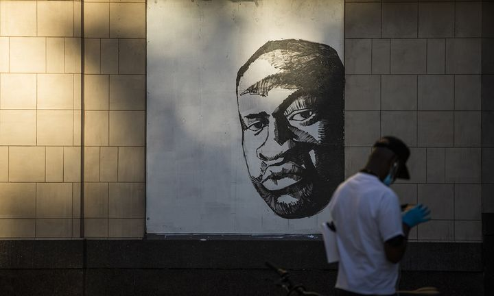 A mural of George Floyd, who died on May 25 whilst in police custody in Minneapolis, is seen in downtown Oakland