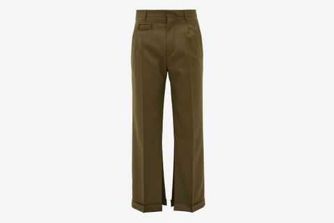 Split-Hem Virgin-Wool Trousers