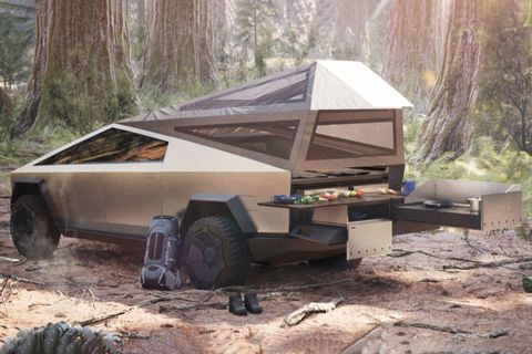 Tesla Cybertruck camping
