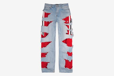 Distressed Wide-Leg Jeans
