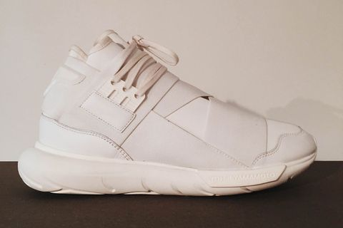 """size 40 5e6ef d2bd8 Adding to their growing repertoire of fire sneakers, Y-3 presents the Qasa  High in an arresting """"Triple White"""" colorway. Taking the ninja-like  silhouette ..."""