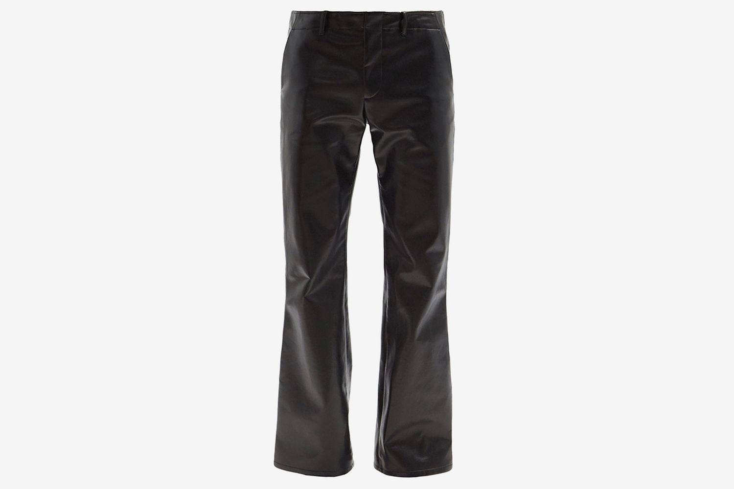 Low-Rise Flared Faux-Leather Trousers