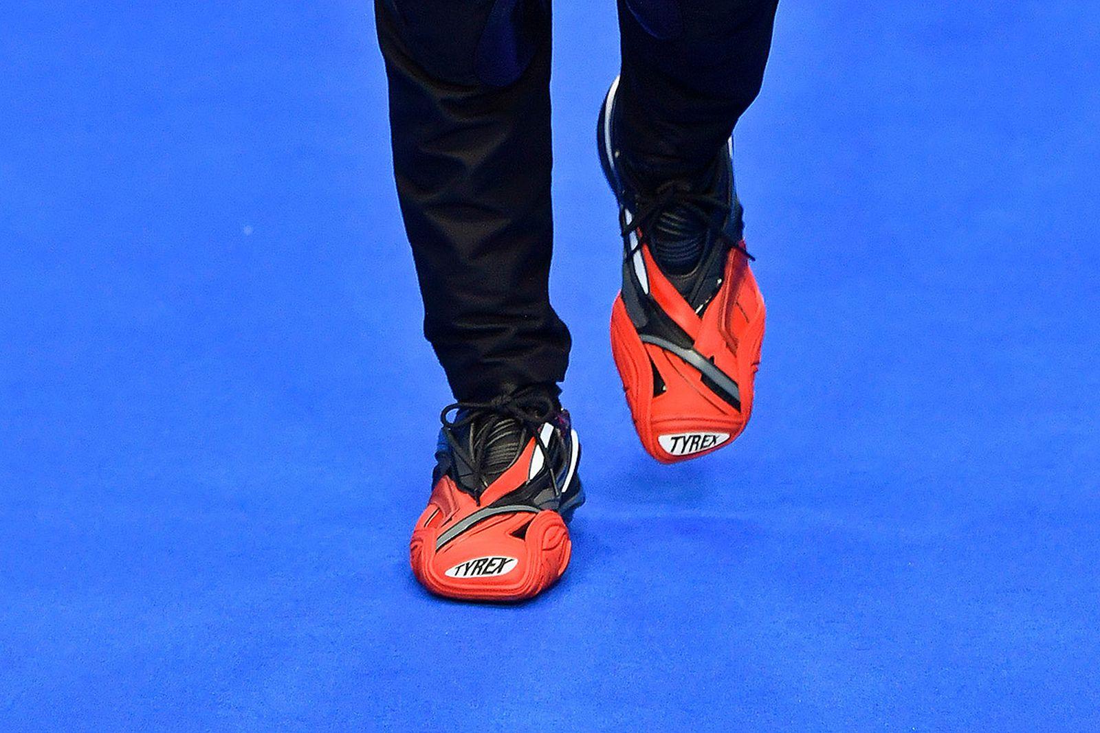 """balenciaga tyrex first official look Nike Air Jordan 1 """"First Class Flight"""" Paris Fashion Week SS20 Travis Scott"""