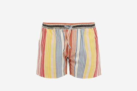 Striped Mid Rise Cotton Blend Shorts