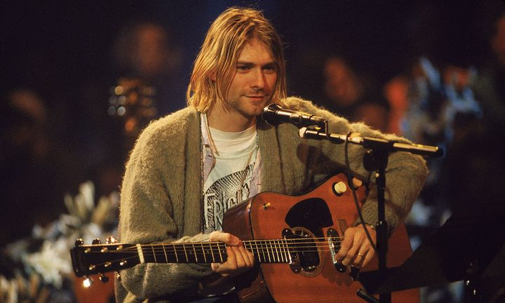 Kurt Cobain 'MTV Unplugged' olive cardigan, guitar