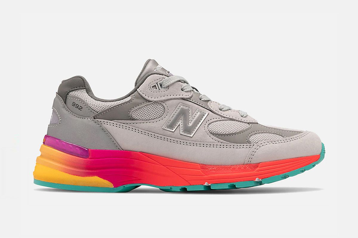 grey and multicolor new balance 992 sneaker in side profile view